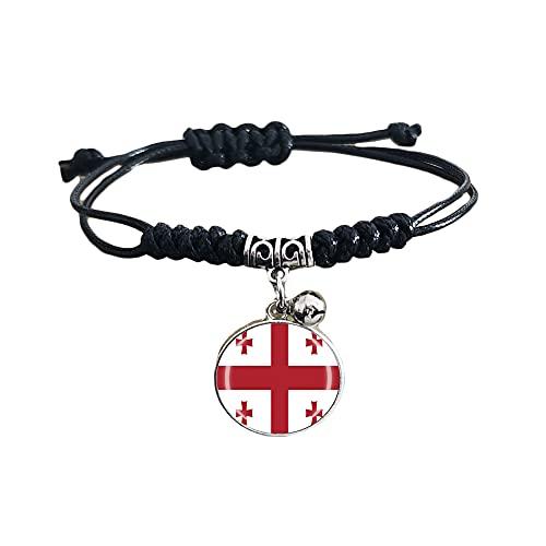 Pulsera trenzada de la bandera de Georgia con cadena de nailon ajustable, pulsera de cristal, pulsera hecha a mano para hombre y mujer