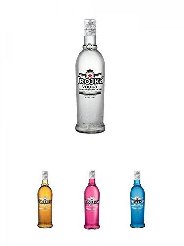 Trojka Vodka Pure Grain 0,7 Liter + Trojka Caramel Likör mit Wodka CARAMEL 0,7 + Trojka Cranberry Likör mit Wodka PINK 0,7 Liter + Trojka Ice-Mint Likör mit Wodka BLUE 0,7 Liter