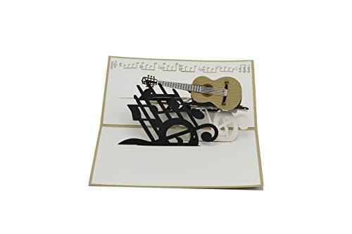 Gitarre, Musik-Gutschein, Musiker, Klampfe, Gitarrist, akustik-gitarre, 3d Klappkarte, Pop Up Karte, Glückwunschkarte, Grußkarte, Geschenkkarte