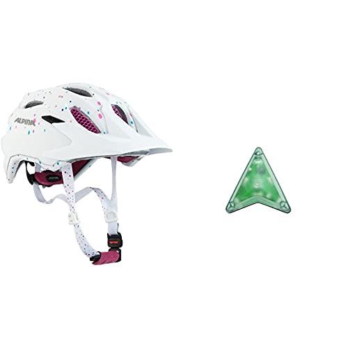 ALPINA Unisex - Kinder, Carapax JR. Fahrradhelm, White Polka dots, 51-56 cm & Unisex - Kinder, Multi-FIT-Light Fahrradhelmlicht, transparent, One Size