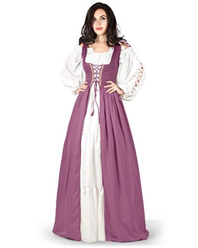 Gaelic Pirate Wench Irish Renaissance Costume Over Dress & Chemise (Small-Medium, Rose)
