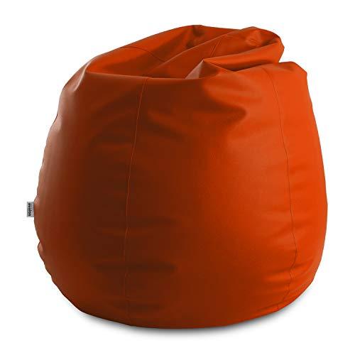 Pouf Poltrona Sacco Gigante Bag XXL Mamba 110x110x100cm Made in Italy in Tessuto Ecopelle Imbottito per Ambiente Interno ed Esterno Colore Arancio