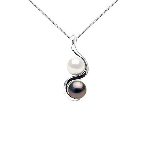 Pearls & Colors - Collana Vere Perle Coltivate di Tahiti e Acqua Dolce Rotonde 8-9 mm - qualità A + - Argento 925 - Gioiello da Donna