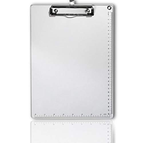 LKAKA Recycled Aluminum Clipboard - Silver, Size A4 8.9 in. x 12.4 in. Document Holder with Low Profile Clip & Side Rulers (Silver)