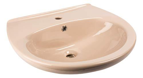 Calmwaters® - 60 cm breites Waschbecken aus Keramik in Beige-Bahamabeige mit Überlauf zur Wandmontage - 05AB2297