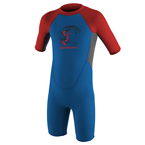 O'Neill Toddler Reactor-2 2mm Back Zip Short Sleeve Spring Wetsuit, Ocean/Graphite/Red, 1