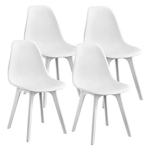 [en.casa] 4X Design Stühle 83 x 54 x 48cm Weiß Esszimmer Stuhl Stühle Kunststoff Skandinavisch mit Bodenschoner
