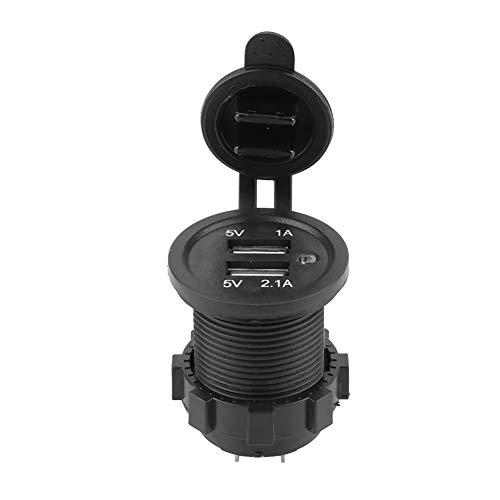Cargador de Modificación USB Dual Dgtrhted 3.1A ABS Negro para Coche Motocicleta Barco Luz Azul