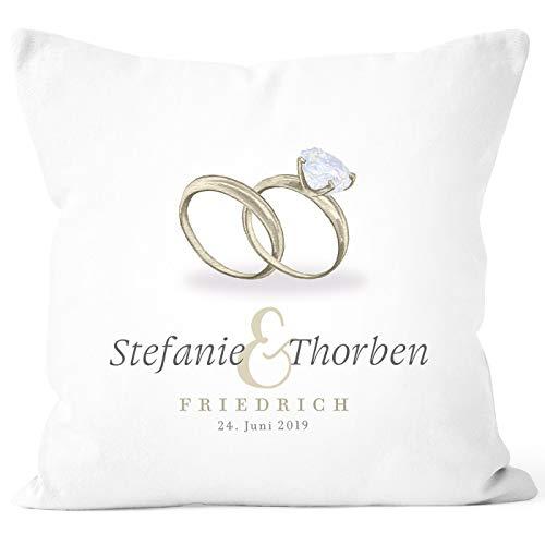 SpecialMe® personalisierbare Kissen-Hülle zur Hochzeit Ringe mit eigenen Vornamen Nachname Datum Hochzeitsgeschenk weiß Unisize