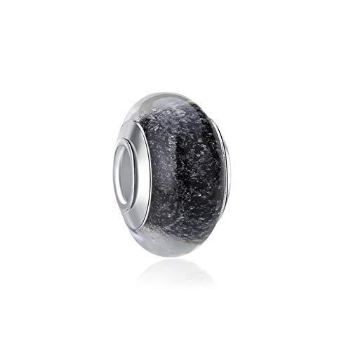 HETHYAN Cuentas de aleación de cristal europeo de Murano Aolly Charm brillante estrellada noche ajuste pulseras DIY joyería para mujer (color: negro)