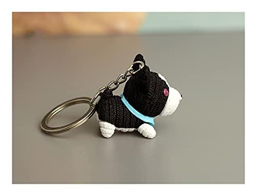 AiKoch Perro Mascota de la Cadena Clave de Lana muñeca del Perro de Moda Colgante de joyería Creativa Linda pequeño Regalo para el año del Perro (Color : Black)