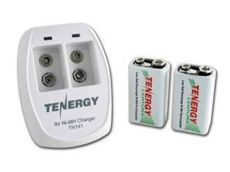 Tenergy TN141 2 Bay 9V Smart Charger with Premium or Centura batteries combos