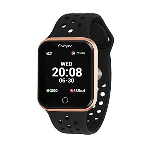Relógio Smartwatch Champion Bluetooth 4.0 Rosé Pulseira Preta CH50006Z