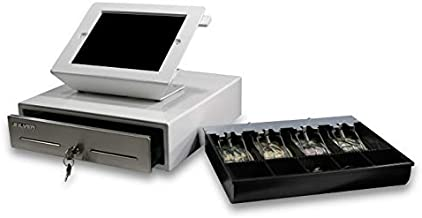 SILVER by AccuBANKER SCD10 Point of Sale (POS) Bundle Tablet Stand w/Rotary Plate & Cash Drawer White 13