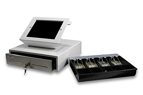 SILVER by AccuBANKER SCD10 Point of Sale (POS) Bundle Tablet Stand w/Rotary Plate & Cash Drawer...