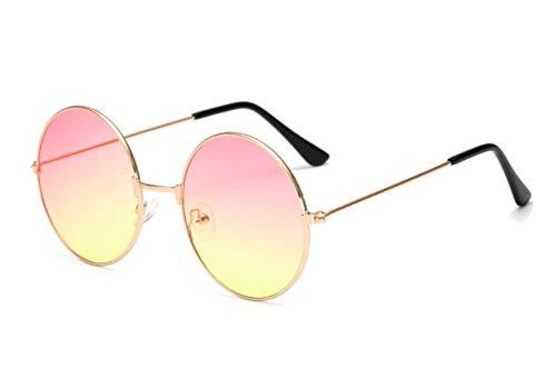CHICNET Hochwertige Damen Herren Sonnenbrille Rundglas Hippie John-Lennon Brille 400UV rund, runde Gläser, langer Steg, aus Metall und Acryl, verspiegelt und getönt (rosa gelb)