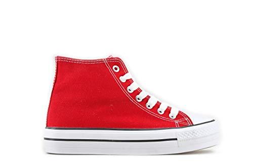 Modelisa - Zapatilla Plataforma Mujer (38, Rojo)