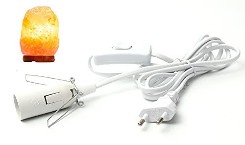 Cable para lámpara de sal con interruptor, E14, 1,8 m, portalámparas, blanco