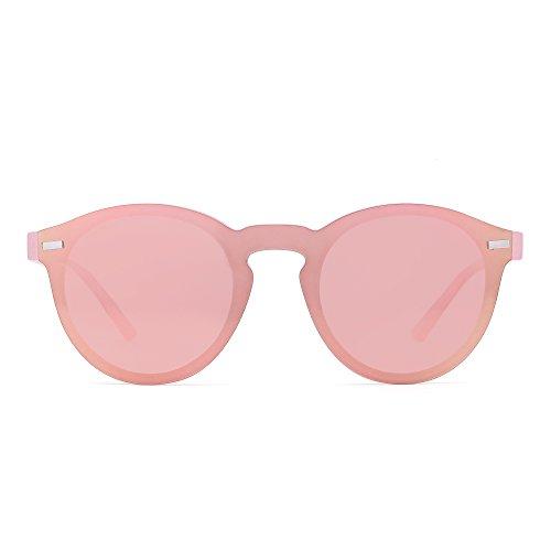 JIM HALO Gafas de Sol Redondas Polarizadas para Mujer Hombre Gafas Moda Sin Montura UV400 (Rosa/RosaTransparente Mate)