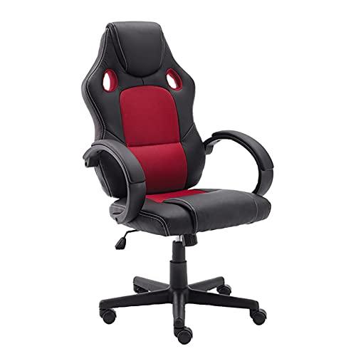 Lzcaure Silla de juegos de cuero sintético con respaldo alto, silla reclinable, silla de oficina, silla giratoria para computadora, silla de trabajo ergonómica (tamaño: como se muestra; color: rojo)