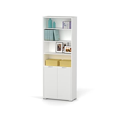 Abitti Estantería librería Biblioteca de pie Alta Color Blanco Brillo, estantes Regulables, Gruesos de 22MM, para Oficina,...