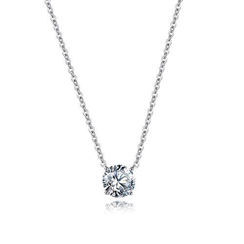 Bo&Pao Damen Kette mit Zirkonia in Silber Sterling 925, Halskette mit Stein, 45 cm, verstellbar