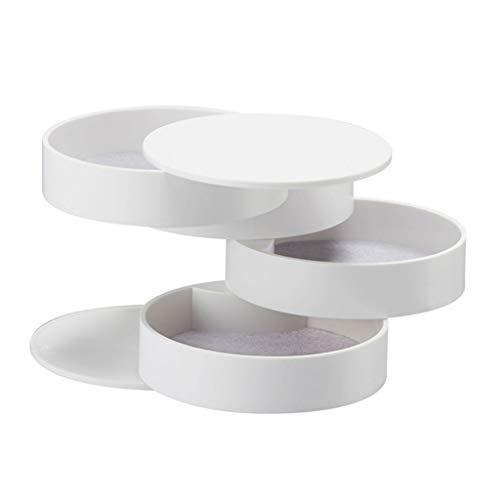 HYMD Joyero Caja de Almacenamiento de joyería Caja de Almacenamiento de joyería giratoria de 4 Capas, Caja de Almacenamiento de Escritorio con Tapa (Color : White)