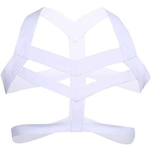 KKmeter Men's Strong Body Chest Nylon Harness Lingerie Elastic Support Brace Club Wear Costumes (White)