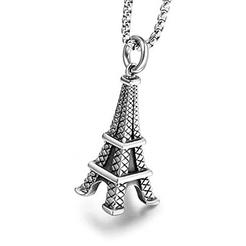 MINGDIAN Collar de Pareja de la Torre Eiffel Francesa Colgante de Personalidad de Acero de Titanio Regalo romántico