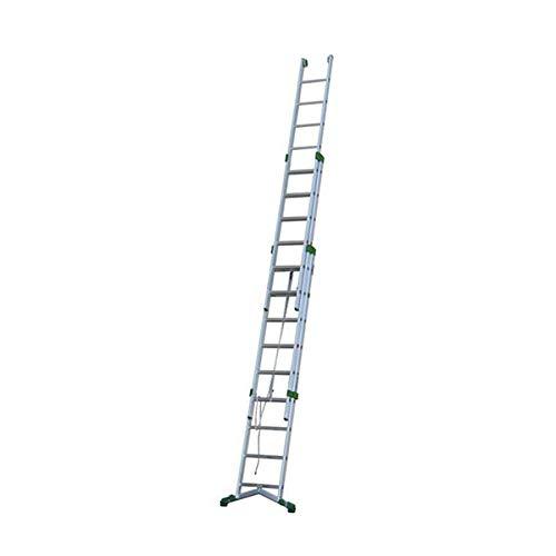 Escalera extensible aluminio con cuerda con pie estabilizador integrado.