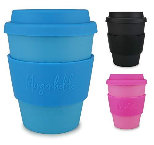 Morgenheld il tuo bicchiere di bambù alla moda | Coffee-to-Go bicchiere con coperchio in silicone e fascetta dal design futuristico da 350 ml - Just Blue