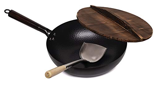 Hand Hammered Carbon Steel Wok with Wooden Lid amp Asian Spatula with Wooden Handle  Stir Fry Pan for Chinese Japanese and Cantonese Cuisine – Flat Bottom Wok for Asian Cooking by Cookeries