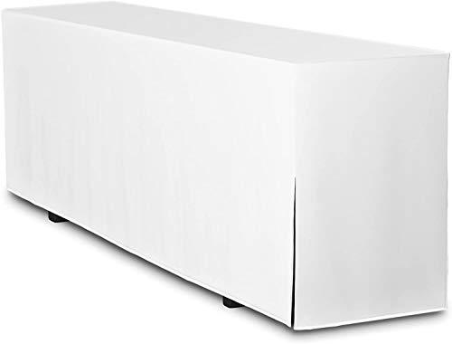 TexDeko Funda para mesa alargada de 180 cm (solo mesa) – (color y diámetro a elegir) (color blanco, ancho de la mesa: 70 cm)
