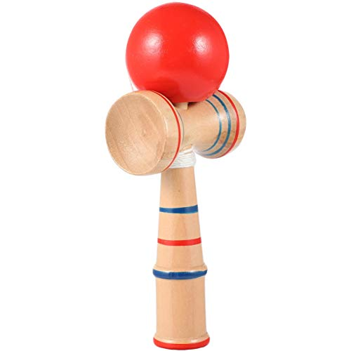 BESPORTBLE Wooden Kendama Ball Cup and Ball Game Traditional Japanese Toss Ball Catching Cup Hand Eye Coordination Ball Sports Game for Cognitive Skills Improved Balance(Red)