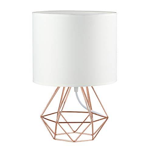 FRIDEKO Ecopower - Lámpara de mesa de noche minimalista de tela de cobre para lámpara de noche, lámpara de noche, lámpara de mesa, lámpara de mesa, color blanco y oro rosa