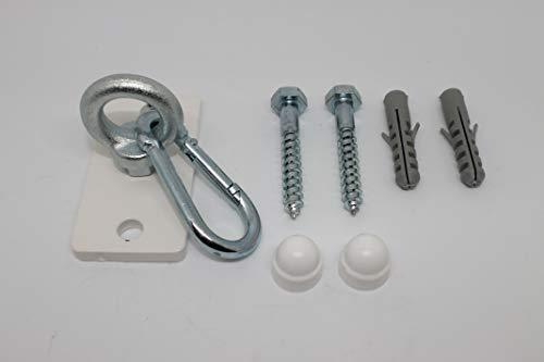 Eisen-Maenicke | Decken- & Wandhalterung | Boxsackhalterung | weiß mit Karabinerhaken | bis 180 kg