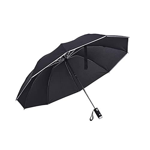 LICHAO Paraguas, Paraguas plegable automático, Paraguas plegable de viaje, invertido con mango de linterna reflectante LED, para seguridad nocturna