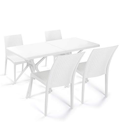Rimdoc Garden Dining Set Patio Table with 4 Chairs White Outdoor Furniture Waterproof Mid Century Country Wicker Rattan Style Plastic Set for Lawn Balcony Porch Backyard Poolside Bistro Cafe Bar