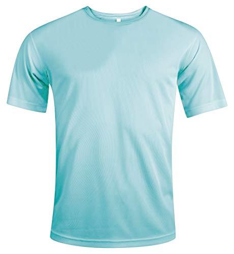 MKR Camiseta deportiva de secado rápido transpirable de manga corta, Hombre, MKR438, verde menta, medium