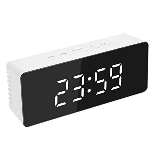 Decdeal Reloj Despertador Digital de Cabecera,Reloj Despertador Multifuncional con Espejo,Reloj de Mesa,Pantalla Grande/Función de Repetición/Brillo Ajustable/Pantalla de Temperatura
