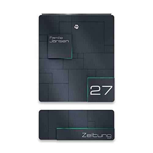 Metzler Design Briefkasten aus Edelstahl mit Zeitungsfach - inkl. Gravur - Anthrazit RAL 7016 - Wand-Montage - Größe: 33 x 38,5 x 11 cm