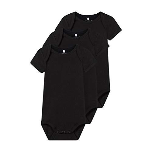 NAME IT NAME IT Unisex Baby Nbnbody 3P Ss Solid Noos Strampler, Schwarz (Black Black), (Herstellergröße:80) (3er Pack)