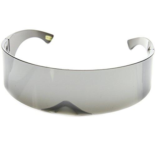 zeroUV - 80s Futuristic Cyclops Cyberpunk Visor Sunglasses with Semi Translucent Mirrored Lens (Silver)
