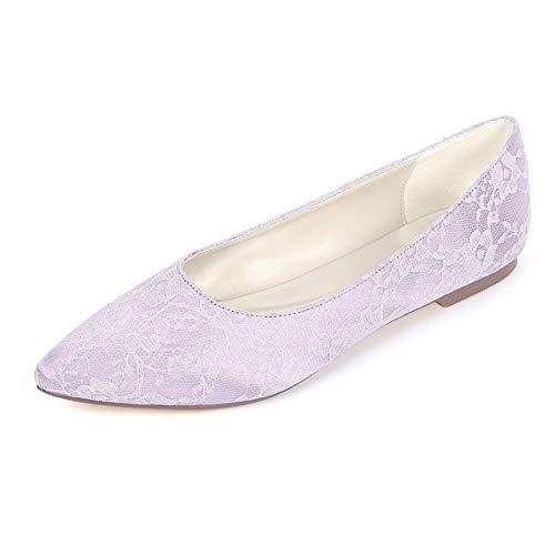 LGYKUMEG Damen Hochzeit Schuhe Flacher Absatz Spitze Zehe Ballerina Hochzeit Party & Festivität Satin Blumen Weiß Violett Blau,Lila,EU37