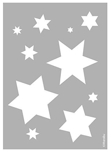 Marabu 0283000000020 - Schablone, lasergeschnittene, strapazierfähige Schablone, PVC frei, zur Anwendung auf Wänden, Möbeln und Textilien, wieder verwendbar, DIN A4, Starlets