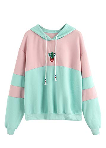 SweatyRocks Womens Long Sleeve Colorblock Pullover Fleece Hoodie Sweatshirt Tops Green Pink Medium