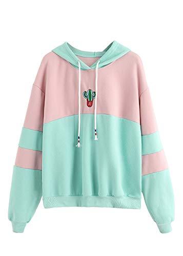 SweatyRocks Womens Long Sleeve Colorblock Pullover Fleece Hoodie Sweatshirt Tops Green Pink Small
