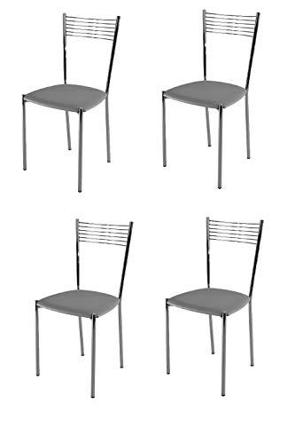 Tommychairs - Set 4 sedie modello Elegance per cucina bar e sala da pranzo, struttura in acciaio cromato e seduta imbottita e rivestita in pelle artificiale colore grigio chiaro
