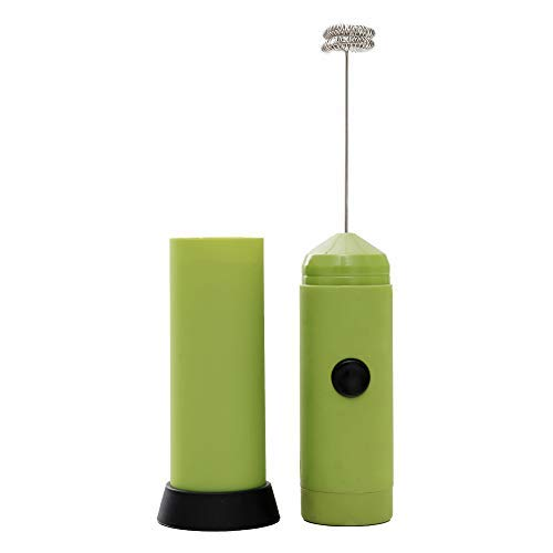 Milk Frother Handheld Foam Maker: Electric Whisk Drink Mixer Mini Blender Foamer Best for Bulletproof Coffee, Milk Cafe Latte, Cappuccino, Frappe, Matcha, Hot Chocolate - Battery Operated in Green