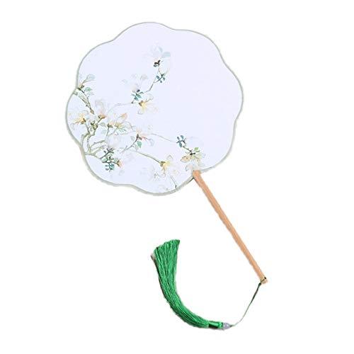 MOJIE Antigüedades En Forma De Flor De Ocho Pétalos con Mango Largo, La Borla De Las Señoras De Fan Fan Dance Accesorios Atrezzo (Color : Green)